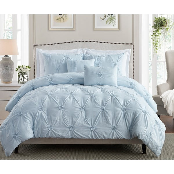 Stylish Extra Plush Comfort Floral Pintuck Comforter Set. Opens flyout.