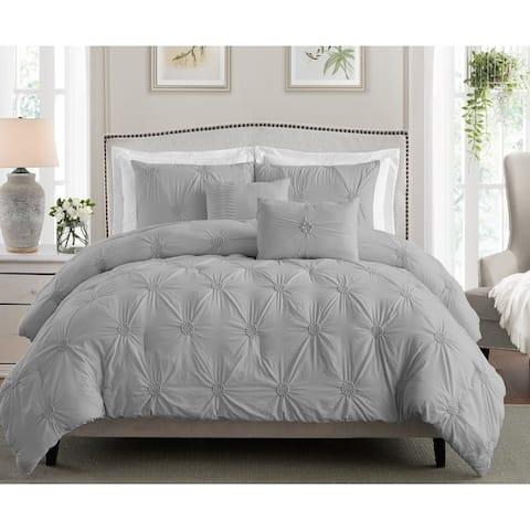 Stylish Extra Plush Comfort Floral Pintuck Comforter Set