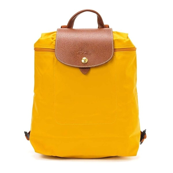 304c6ecb7534 Shop Longchamp Le Pliage Nylon and Leather Backpack AMARILLO - Free ...