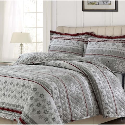 Soft and Cozy Flannel 170-GSM Solid or Printed Oversized Quilt Set