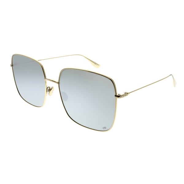 a7fe01697286 Dior Square DiorStellaire 1 83I 0T Women Gold Silver Frame Silver Mirror  Lens Sunglasses