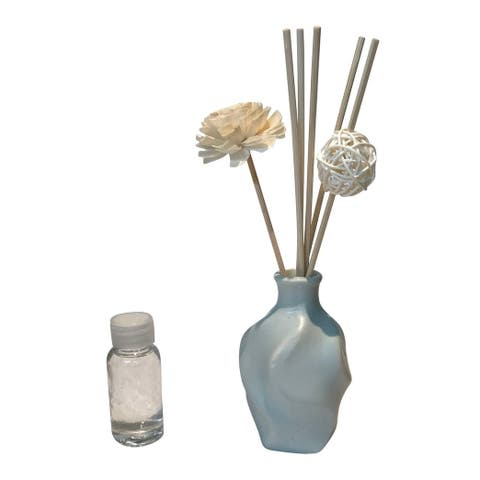 Creative Motion Scented Fragrance For Aroma Therapy - Baby Blue Color Ceramic Vase, 1 Aroma Oil