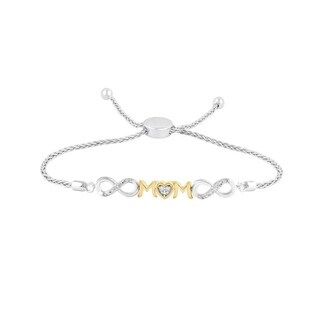 Sterling silver with 10K Yellow gold Plated 1/20 ct Diamond ladies Mom Bolo Bracelet