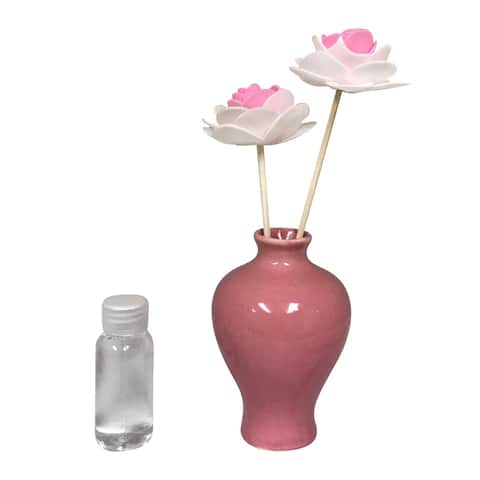 Creative Motion Scented Fragrance For Aroma Therapy - Pink Ceramic Vase and 1 Aroma Oil