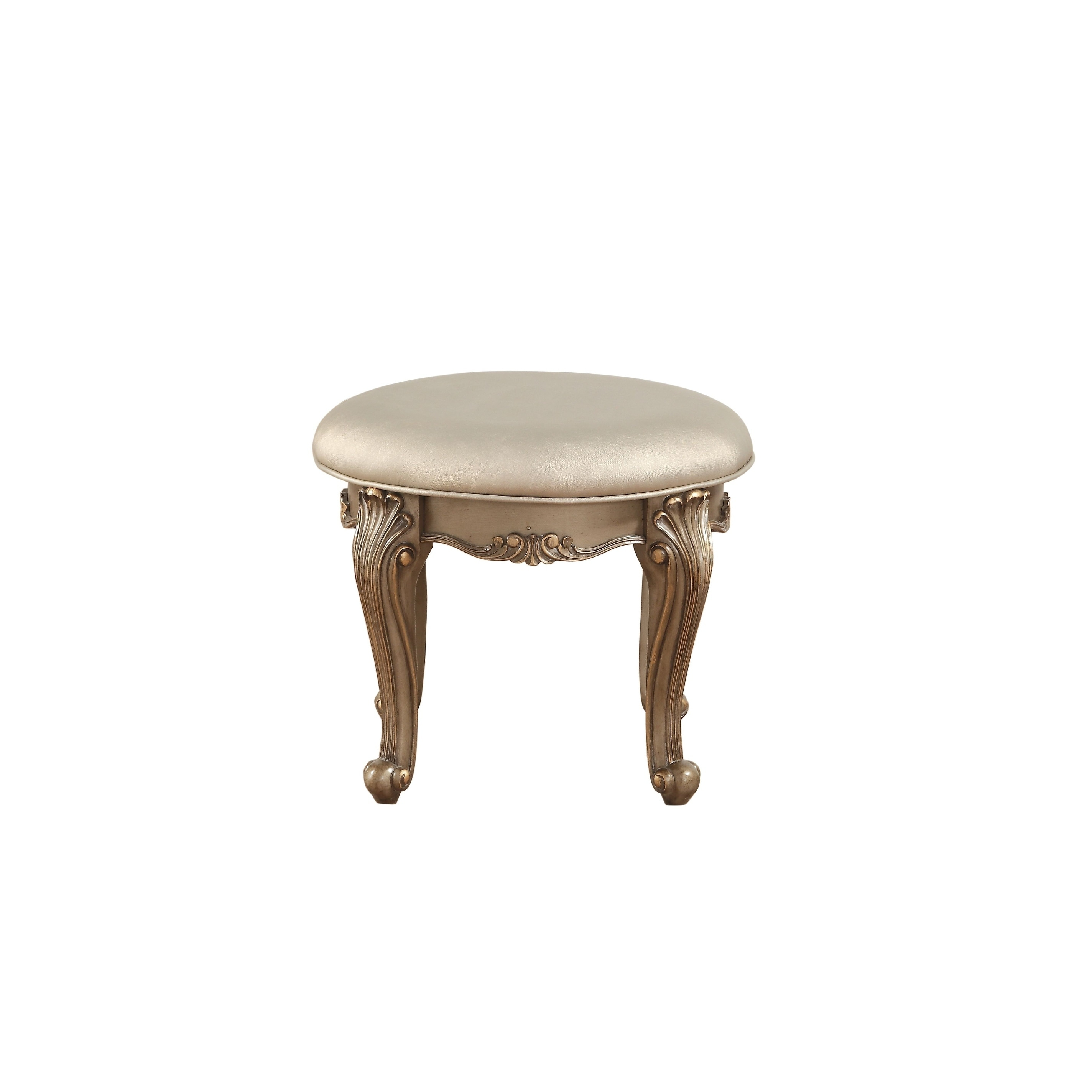 Wondrous Acme Orianne Antique Gold Wood Vanity Stool With Champagne Pu Upholstery Unemploymentrelief Wooden Chair Designs For Living Room Unemploymentrelieforg