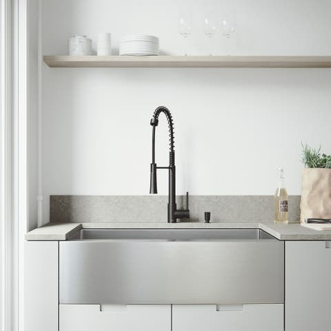 VIGO Bedford Stainless Steel Kitchen Sink Set with Laurelton Faucet