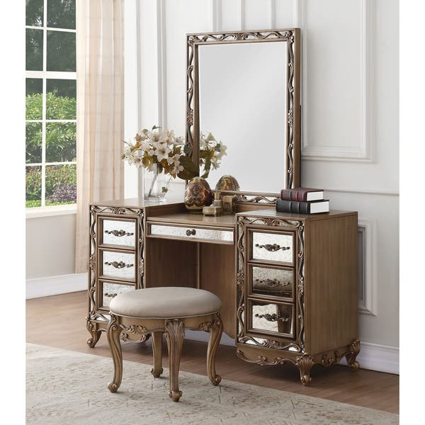Acme Orianne Antique Goldtone Wood Vanity Desk On Sale Overstock 24032060