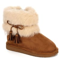 Cupcake Couture Girls Lil Finn Faux Fur Boot Shoes, Tan