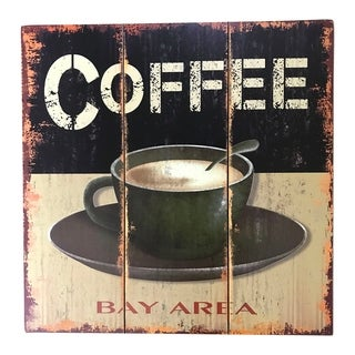 "Creative Motion ""Coffee, Bay Area"" Wood Decorative Wall Art Sign - Multi-color"