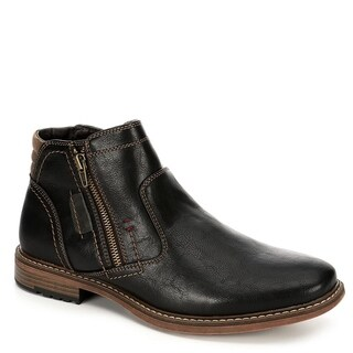 Day Five Mens Dual Side Zip Up Ankle Boot Shoes, Black