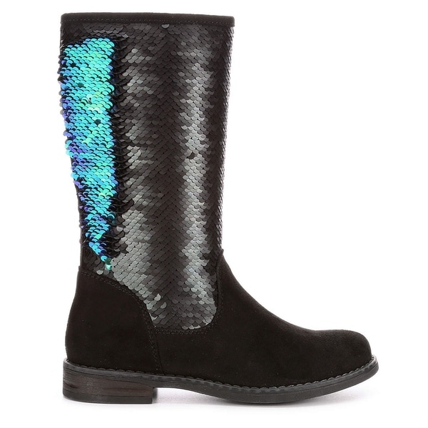 Cupcake Couture Girls Jewel Sequin Mid Calf Boot Shoes, Black