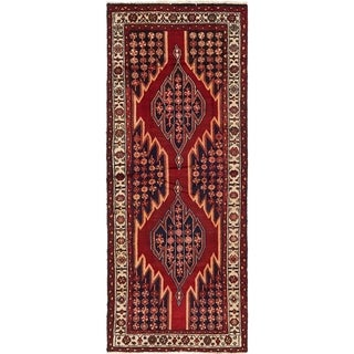 Hand Knotted Mazlaghan Semi Antique Wool Runner Rug - 4' x 10'