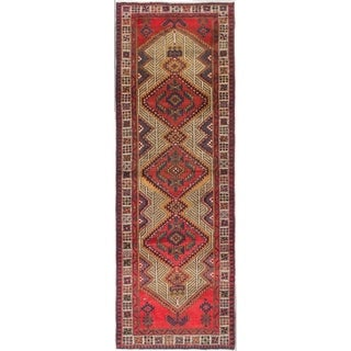 Hand Knotted Meshkin Semi Antique Wool Runner Rug - 3' 3 x 9' 7
