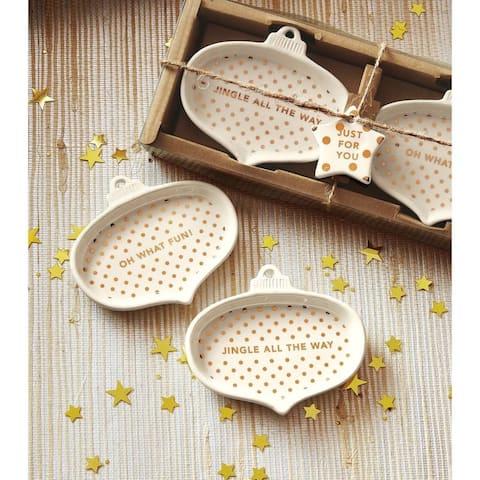 TAG Jingle Fun Ornament Tidbit Plate Set Of 2 White
