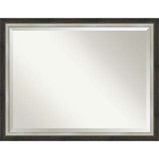 Bathroom Mirror, Brushed Metallic Wood