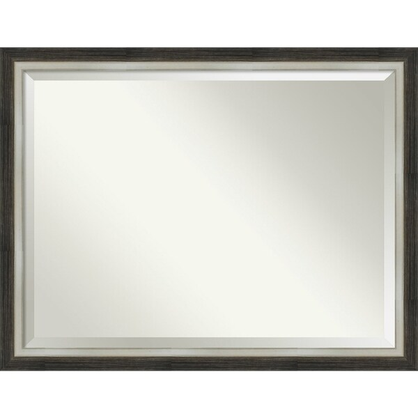 Bathroom Mirror, Brushed Metallic Wood