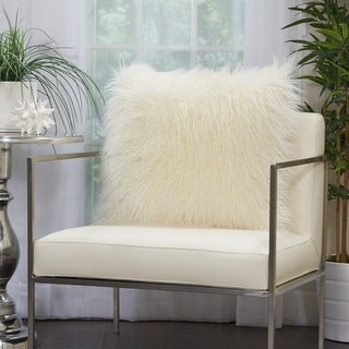 Mina Victory Plush Faux Fur White Throw Pillow (20 -Inch x 20 -Inch)