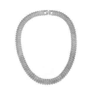 Collette Z Sterling Silver with Rhodium Plated Clear Round Cubic Zirconia Linear Pave Necklace