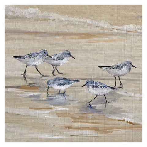 Masterpiece Art Gallery Sandpiper Beach II Amber by Studio Arts Canvas Art - Multi-color
