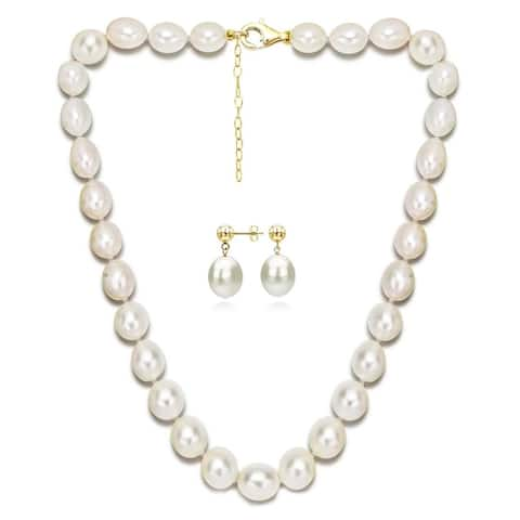 "DaVonna 18k Gold Silver 10-12mm White Freshwater Pearl Necklace and Earrings Set, 18"" + 2"" Extender"