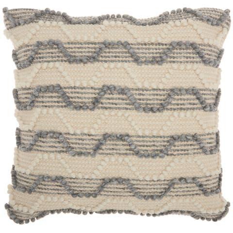 Mina Victory Handmade Striped Ocean Blue Throw Pillow (20 -Inch x 20 -Inch)