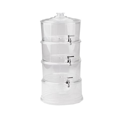 Mind Reader Beverage Dispenser with Ice Bottom, 3 Tier Stackable Drink Holder with Lids, Drinks Display with Spigots, Clear