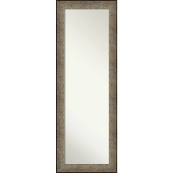 On The Door Full Length Wall Mirror, Pounded Metal: Outer Size 19 x 53-inch - Silver/Brown - 52.88 x 18.88 x 0.799 inches deep
