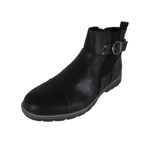 Day Five Mens Casual Zip Up Chelsea Boot Shoes, Black