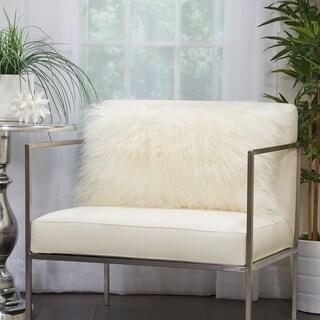 Mina Victory Plush Faux Fur White Lumbar Pillow (14 -Inch x 24 -Inch)