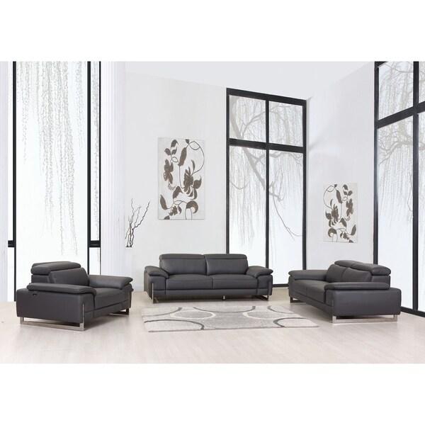 Modern Top Grain Leather Living Room 3PC Sofa Set