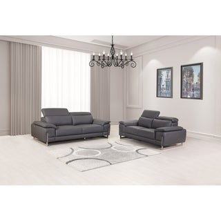 Modern Top Grain Leather Living Room 2PC Sofa Set