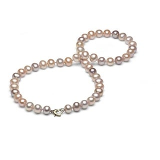 DaVonna Sterling Silver 8-9 mm Pink Freshwater Pearl Necklace with Gift Box