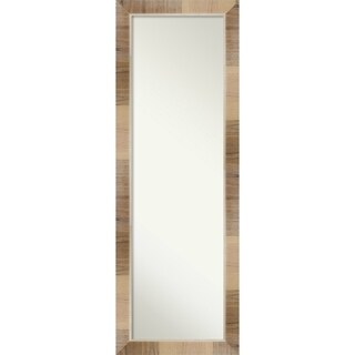 On The Door Full Length Wall Mirror, Natural White Wash: Outer Size 18 x 52-inch - Brown