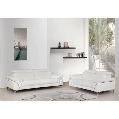Contemporary Top Grain Leather Living Room 2PC Sofa Set