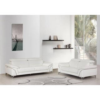 Contemporary Top Grain Leather Living Room 2PC Sofa Set