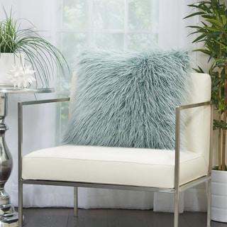 Mina Victory Plush Faux Fur Celadon Throw Pillow (20 -Inch x 20 -Inch)