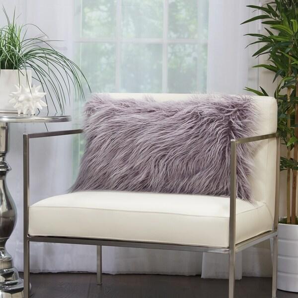 Mina Victory Plush Faux Fur Lavender Lumbar Pillow 14 Inch X 24
