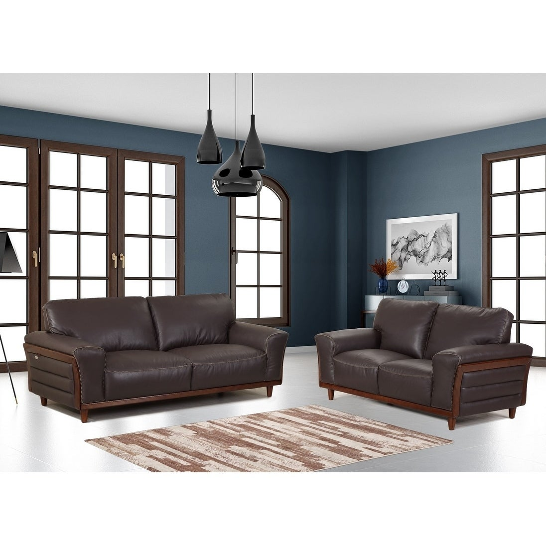 Top Grain Leather Wood Trim Living Room