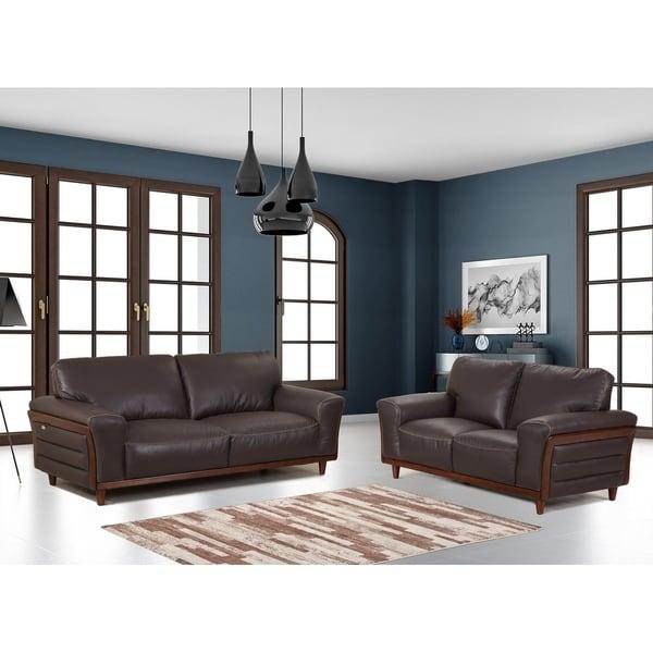shop top grain leather wood trim living room 2pc sofa set