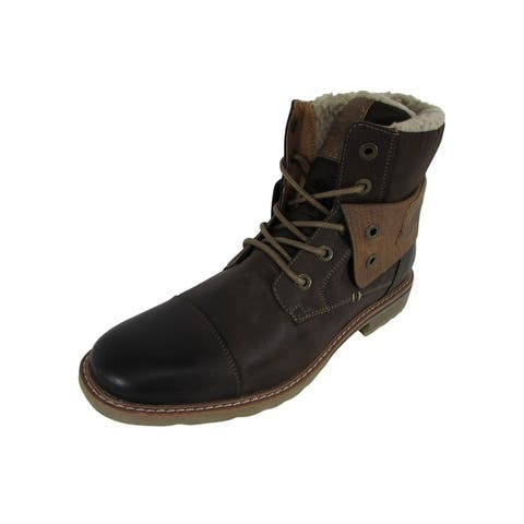 Day Five Mens Casual Lace Up Fold Over Cuff Ankle Boot Shoes Brown