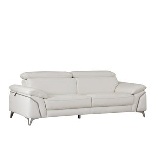 Contemporary Top Grain Leather Upholstered Living Room Sofa