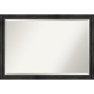 Wall Mirror, Rustic Pine Narrow Black - Black/Brown