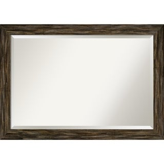 Wall Mirror, Fencepost Brown Narrow - Brown/Grey/White