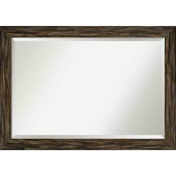Wall Mirror, Fencepost Brown Narrow - Brown/Grey/White