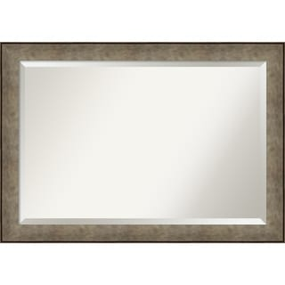 Wall Mirror, Pounded Metal - Silver/Brown