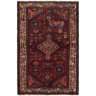 Hand Knotted Mazlaghan Semi Antique Wool Area Rug - 3' 2 x 5' 4
