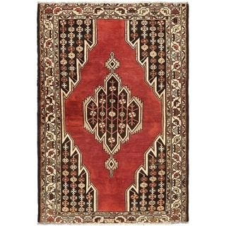 Hand Knotted Mazlaghan Semi Antique Wool Area Rug - 4' x 6' 3