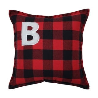 Pillow Perfect Buffalo Plaid Initial Letter 17-inch Throw Pillow