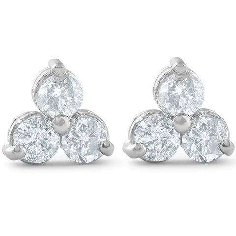 Pompeii3 14k White Gold 2 cttw Three Stone Diamond Studs Womens Earrings