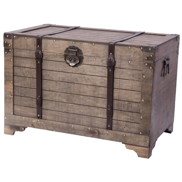 Extra Large Storage Trunk Coffee Table: Shop Old Fashioned Large Natural Wood Storage Trunk And